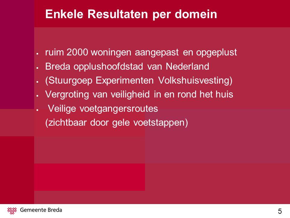 5 Enkele Resultaten per domein  ruim 2000 woningen aangepast en opgeplust  Breda opplushoofdstad van Nederland  (Stuurgoep Experimenten Volkshuisvesting)  Vergroting van veiligheid in en rond het huis  Veilige voetgangersroutes (zichtbaar door gele voetstappen)
