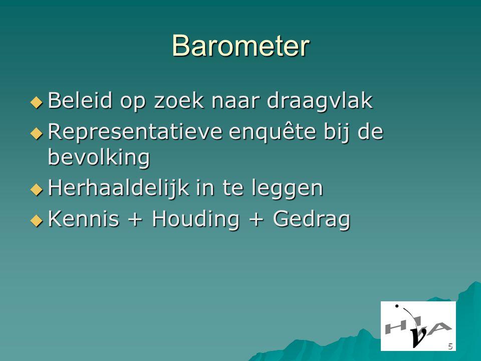 5 Barometer  Beleid op zoek naar draagvlak  Representatieve enquête bij de bevolking  Herhaaldelijk in te leggen  Kennis + Houding + Gedrag