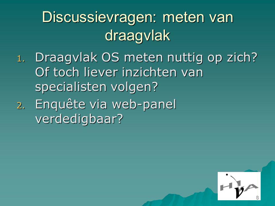 8 Discussievragen: meten van draagvlak 1. Draagvlak OS meten nuttig op zich.