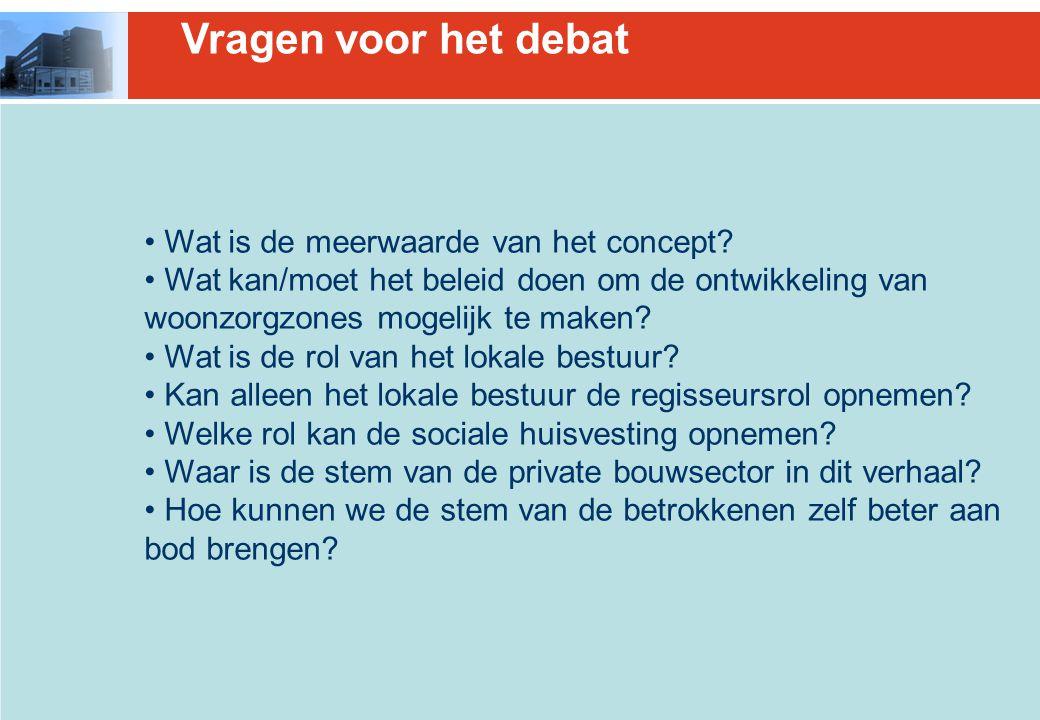Vragen voor het debat Wat is de meerwaarde van het concept.