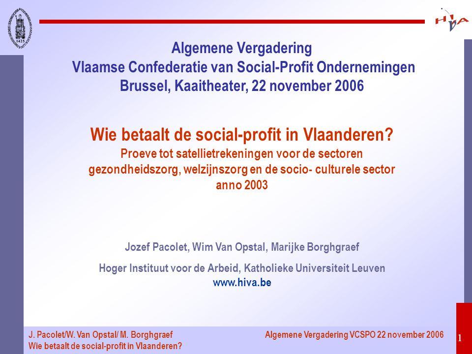 Algemene Vergadering VCSPO 22 november 2006 22 J.Pacolet/W.