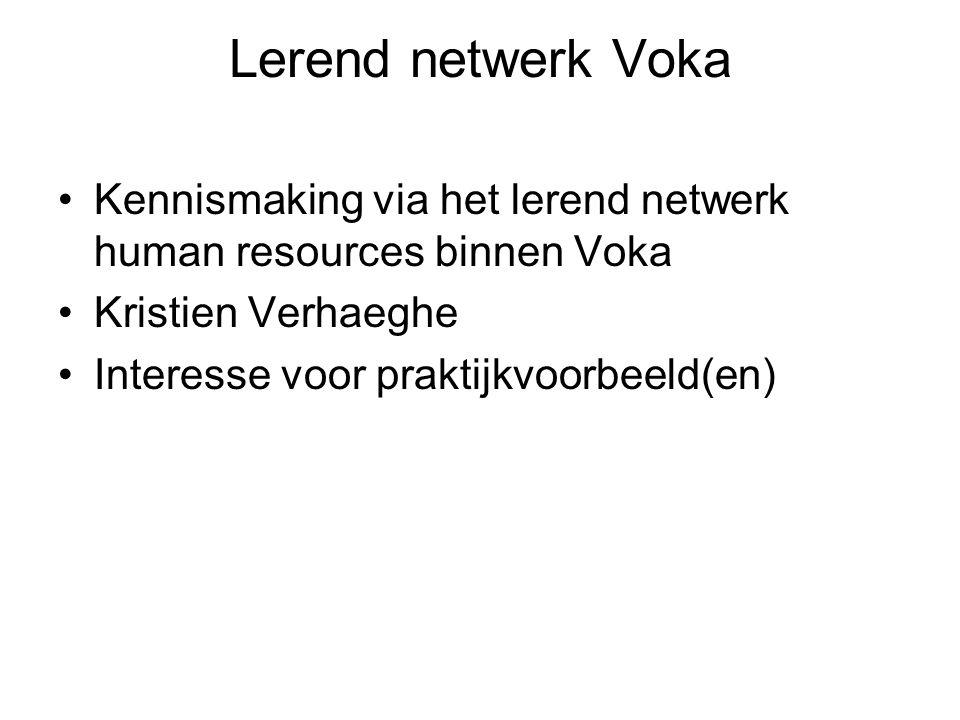 Lerend netwerk Voka Kennismaking via het lerend netwerk human resources binnen Voka Kristien Verhaeghe Interesse voor praktijkvoorbeeld(en)