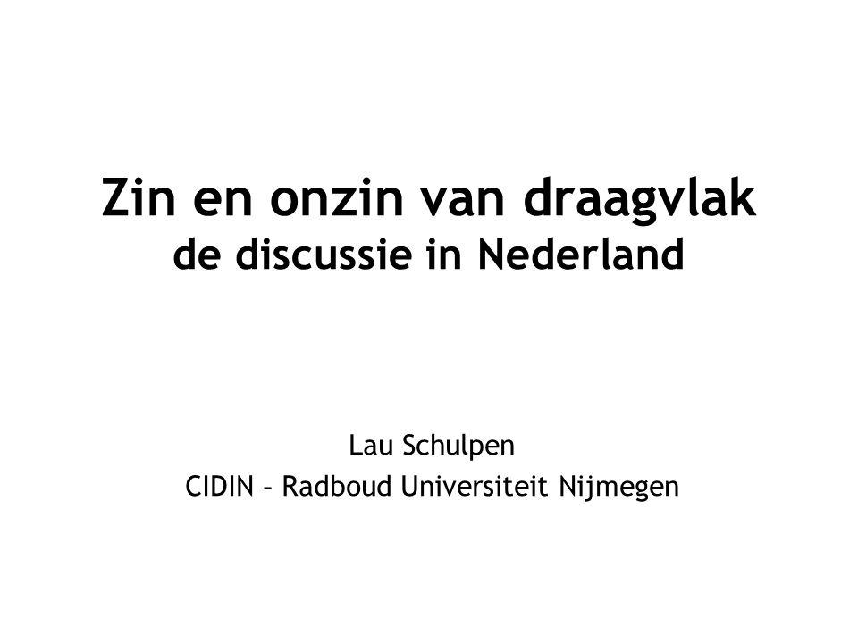Zin en onzin van draagvlak de discussie in Nederland Lau Schulpen CIDIN – Radboud Universiteit Nijmegen