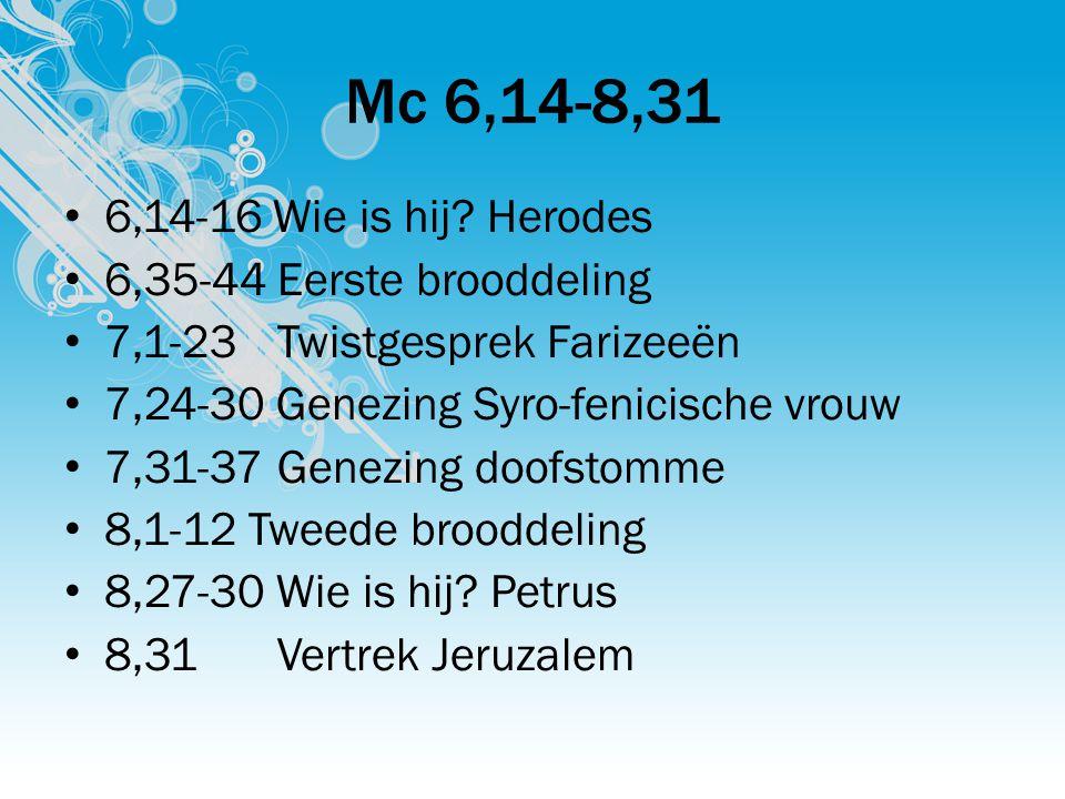 Mc 6,14-8,31 6,14-16 Wie is hij? Herodes 6,35-44Eerste brooddeling 7,1-23Twistgesprek Farizeeën 7,24-30 Genezing Syro-fenicische vrouw 7,31-37Genezing