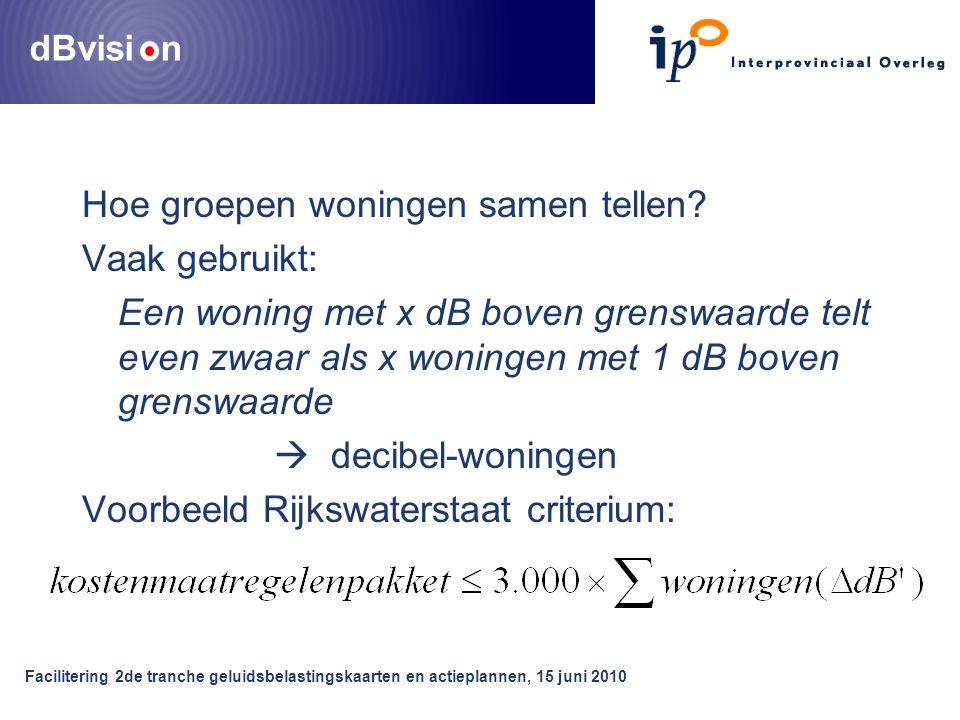 dBvisi n Facilitering 2de tranche geluidsbelastingskaarten en actieplannen, 15 juni 2010 Hoe groepen woningen samen tellen? Vaak gebruikt: Een woning