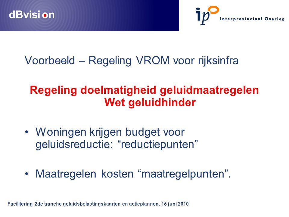dBvisi n Facilitering 2de tranche geluidsbelastingskaarten en actieplannen, 15 juni 2010 Voorbeeld – Regeling VROM voor rijksinfra Regeling doelmatigh