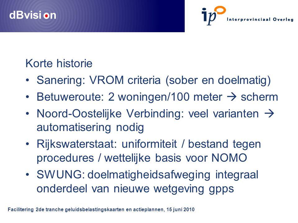 dBvisi n Facilitering 2de tranche geluidsbelastingskaarten en actieplannen, 15 juni 2010 Korte historie Sanering: VROM criteria (sober en doelmatig) B