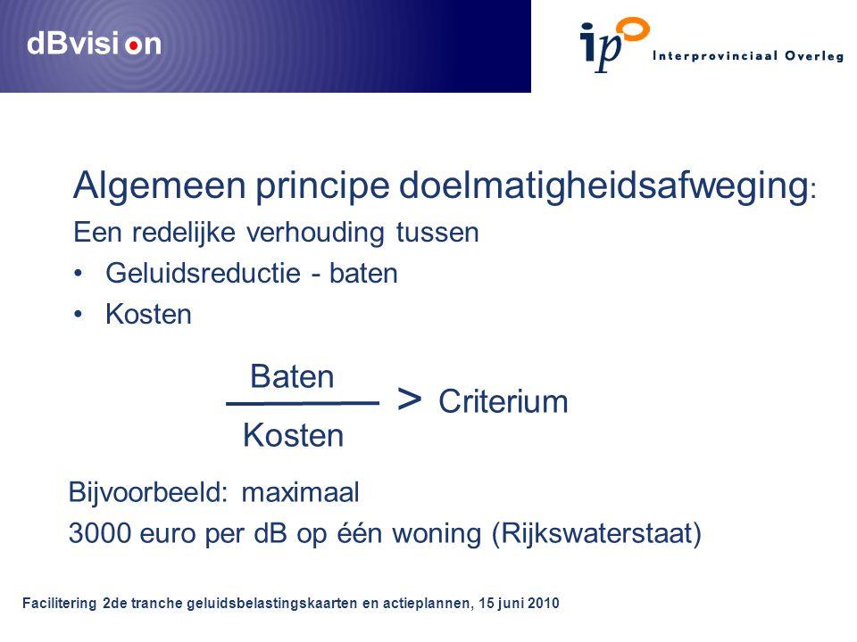 dBvisi n Facilitering 2de tranche geluidsbelastingskaarten en actieplannen, 15 juni 2010 Algemeen principe doelmatigheidsafweging : Een redelijke verh