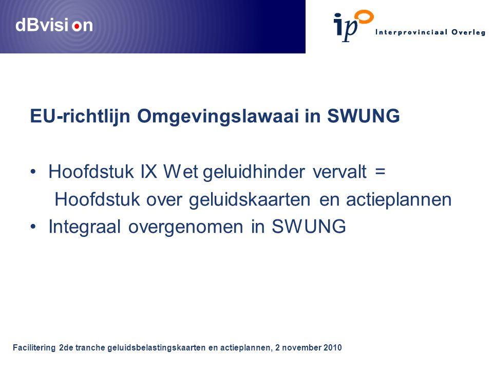 dBvisi n EU-richtlijn Omgevingslawaai in SWUNG Hoofdstuk IX Wet geluidhinder vervalt = Hoofdstuk over geluidskaarten en actieplannen Integraal overgenomen in SWUNG Facilitering 2de tranche geluidsbelastingskaarten en actieplannen, 2 november 2010