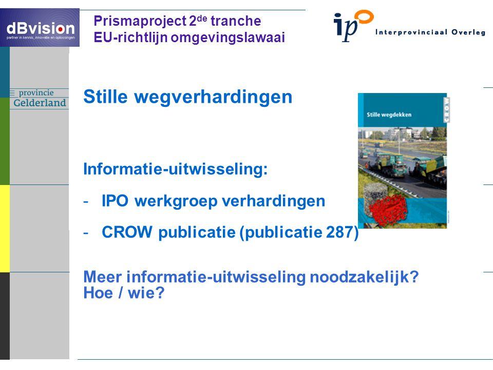 ` Prismaproject 2 de tranche EU-richtlijn omgevingslawaai Stille wegverhardingen Informatie-uitwisseling: -IPO werkgroep verhardingen -CROW publicatie (publicatie 287) Meer informatie-uitwisseling noodzakelijk.