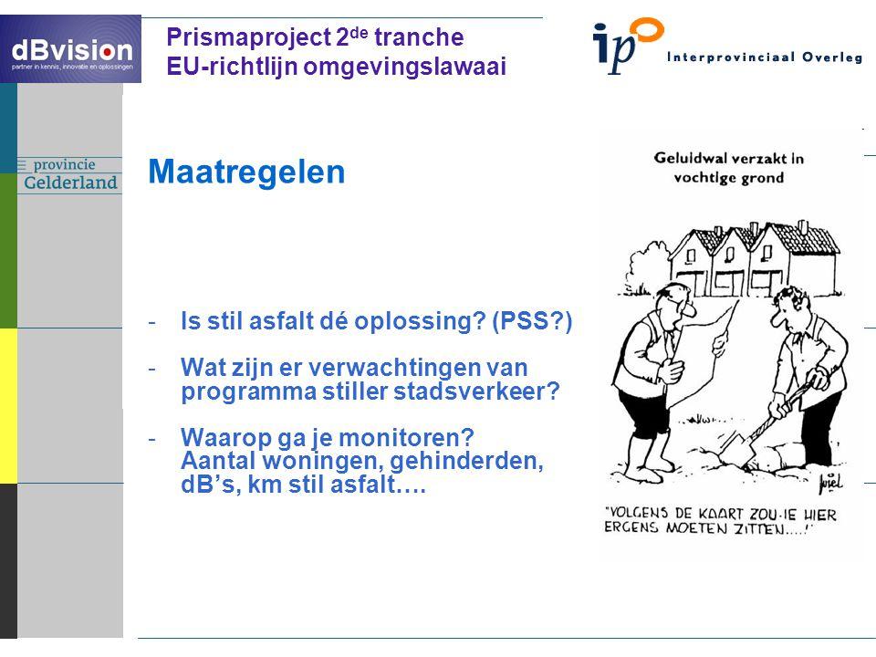 ` Prismaproject 2 de tranche EU-richtlijn omgevingslawaai Maatregelen -Is stil asfalt dé oplossing.