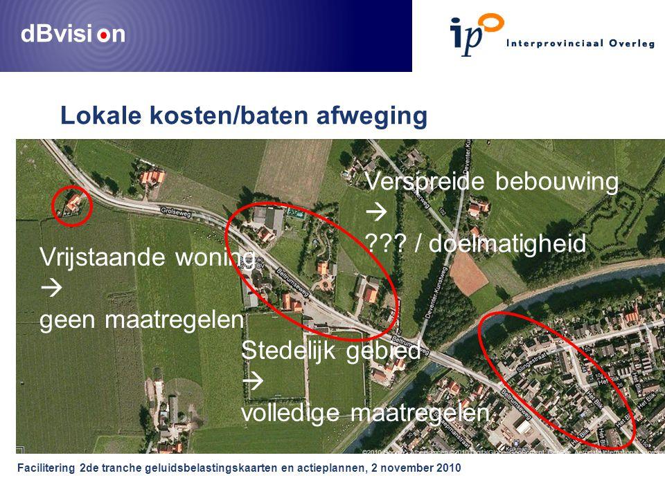 dBvisi n Facilitering 2de tranche geluidsbelastingskaarten en actieplannen, 2 november 2010 Lokale kosten/baten afweging Vrijstaande woning  geen maatregelen Stedelijk gebied  volledige maatregelen Verspreide bebouwing  .