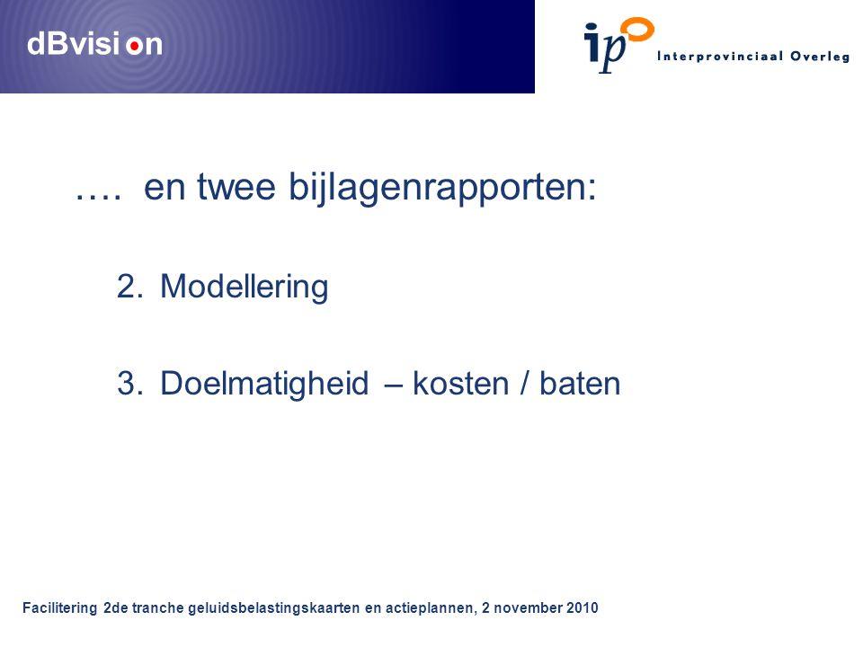 dBvisi n Facilitering 2de tranche geluidsbelastingskaarten en actieplannen, 2 november 2010 ….
