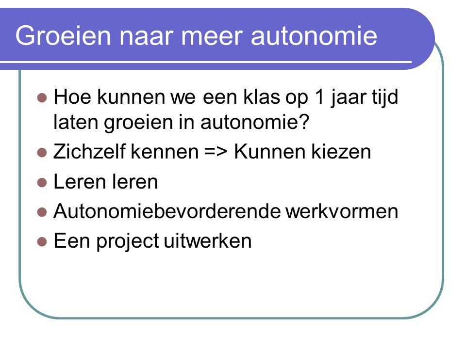 Groeien naar meer autonomie Hoe kunnen we een klas op 1 jaar tijd laten groeien in autonomie? Zichzelf kennen => Kunnen kiezen Leren leren Autonomiebe