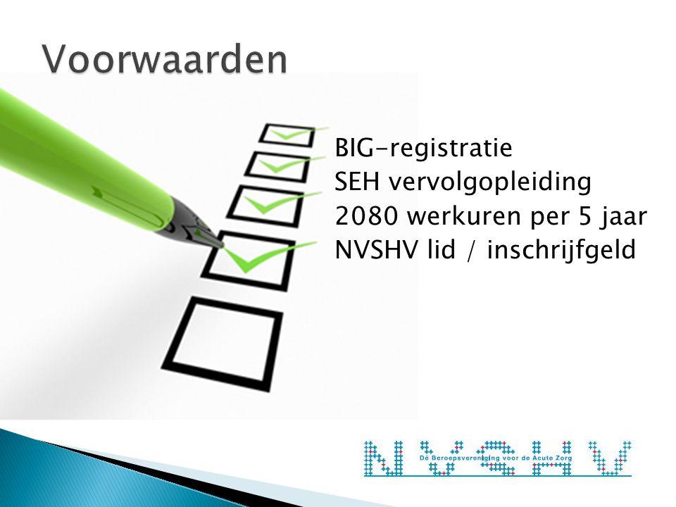 BIG-registratie SEH vervolgopleiding 2080 werkuren per 5 jaar NVSHV lid / inschrijfgeld