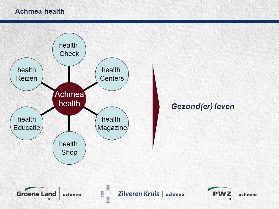 Achmea health Achmea health Check health Centers health Magazine health Shop health Educatie health Reizen Gezond(er) leven