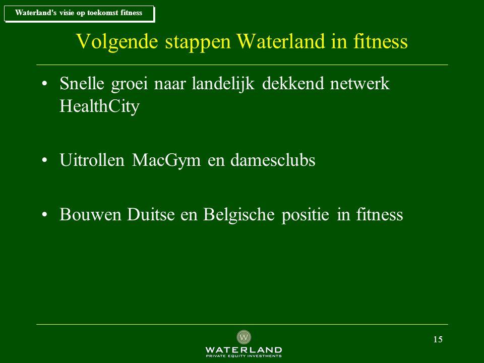 15 Volgende stappen Waterland in fitness Snelle groei naar landelijk dekkend netwerk HealthCity Uitrollen MacGym en damesclubs Bouwen Duitse en Belgische positie in fitness Waterland s visie op toekomst fitness