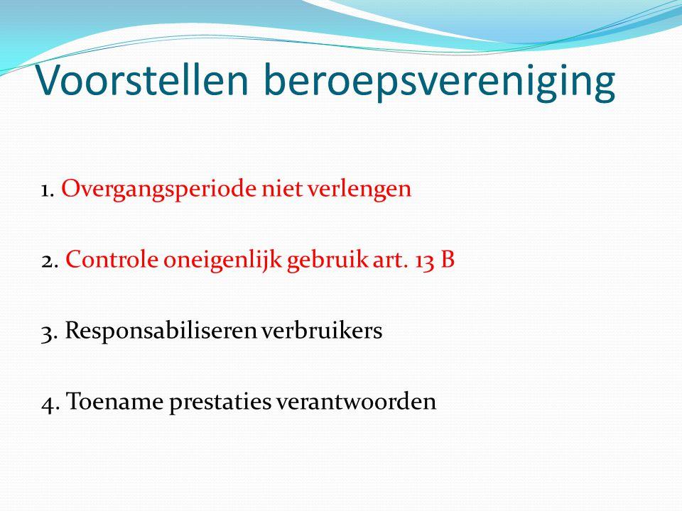 Voorstellen beroepsvereniging 1. Overgangsperiode niet verlengen 2. Controle oneigenlijk gebruik art. 13 B 3. Responsabiliseren verbruikers 4. Toename