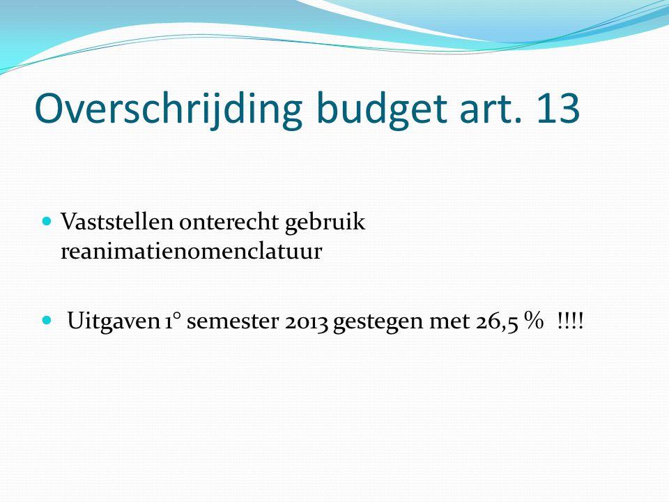 Overschrijding budget art. 13 Vaststellen onterecht gebruik reanimatienomenclatuur Uitgaven 1° semester 2013 gestegen met 26,5 % !!!!