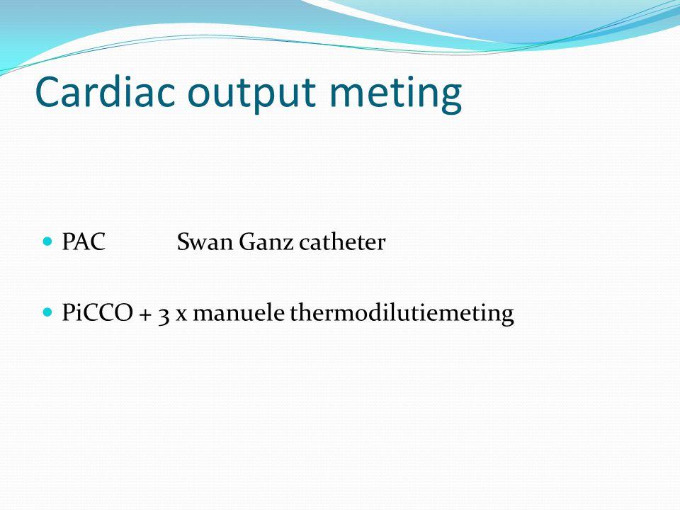 Cardiac output meting PAC Swan Ganz catheter PiCCO + 3 x manuele thermodilutiemeting