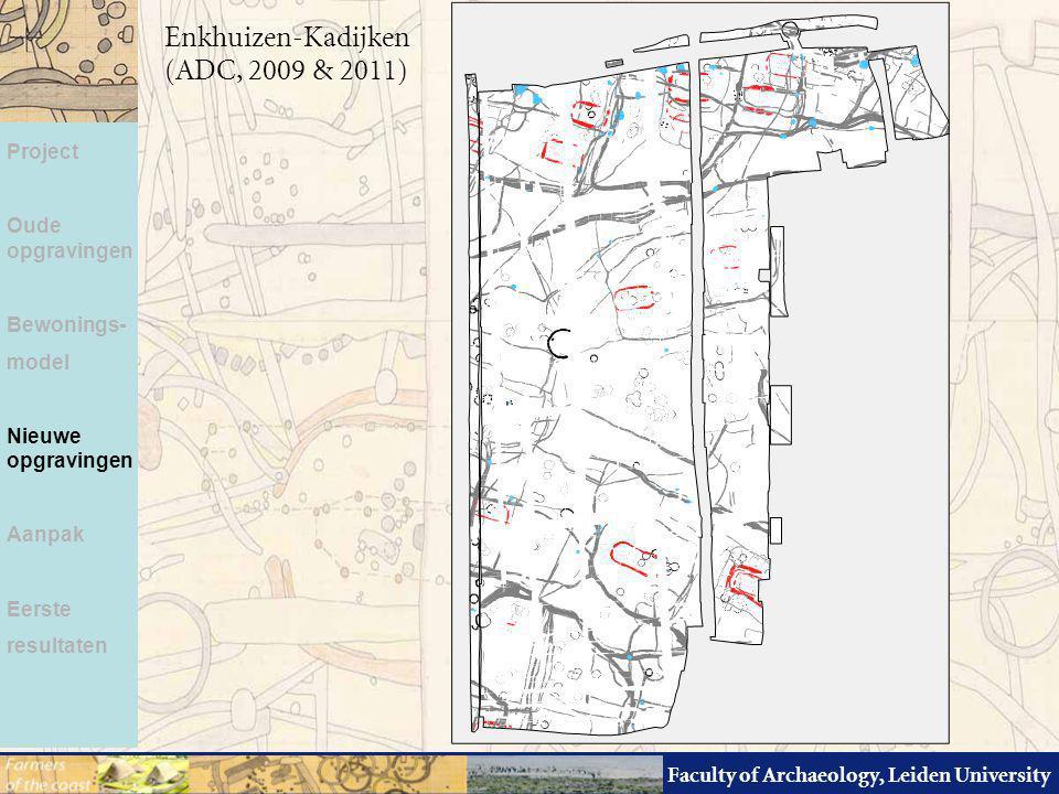 Faculty of Archaeology, Leiden University Project Oude opgravingen Bewonings- model Nieuwe opgravingen Aanpak Eerste resultaten Enkhuizen-Kadijken (AD