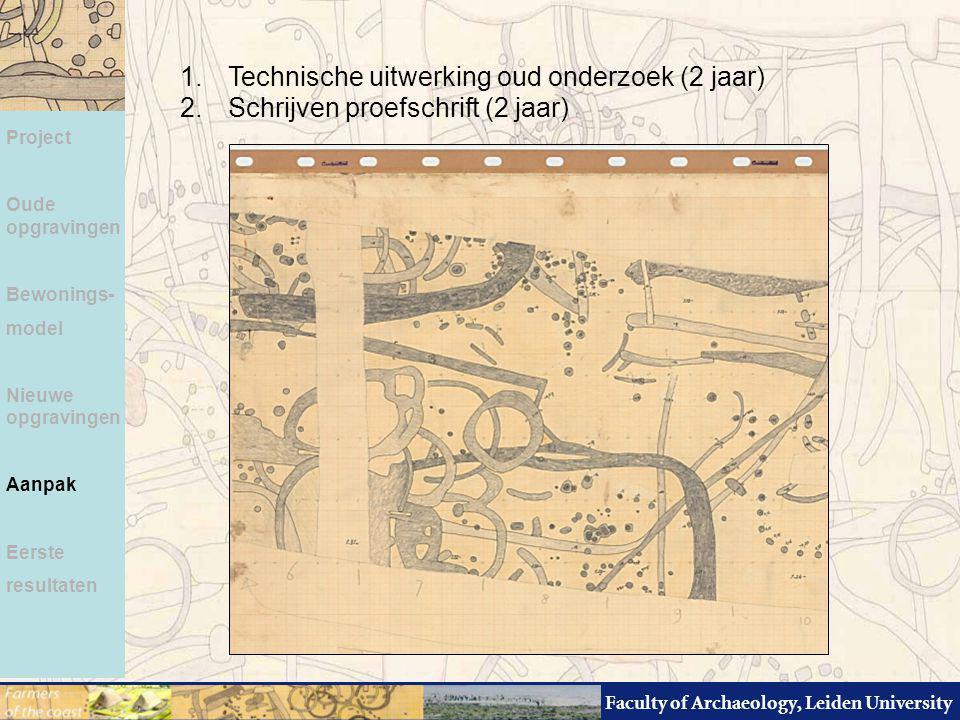 Faculty of Archaeology, Leiden University Project Oude opgravingen Bewonings- model Nieuwe opgravingen Aanpak Eerste resultaten 1.Technische uitwerkin