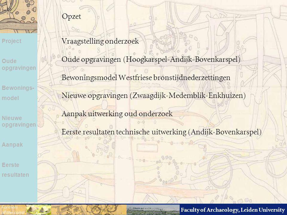 Faculty of Archaeology, Leiden University Vraagstelling onderzoek Oude opgravingen (Hoogkarspel-Andijk-Bovenkarspel) Bewoningsmodel Westfriese bronsti