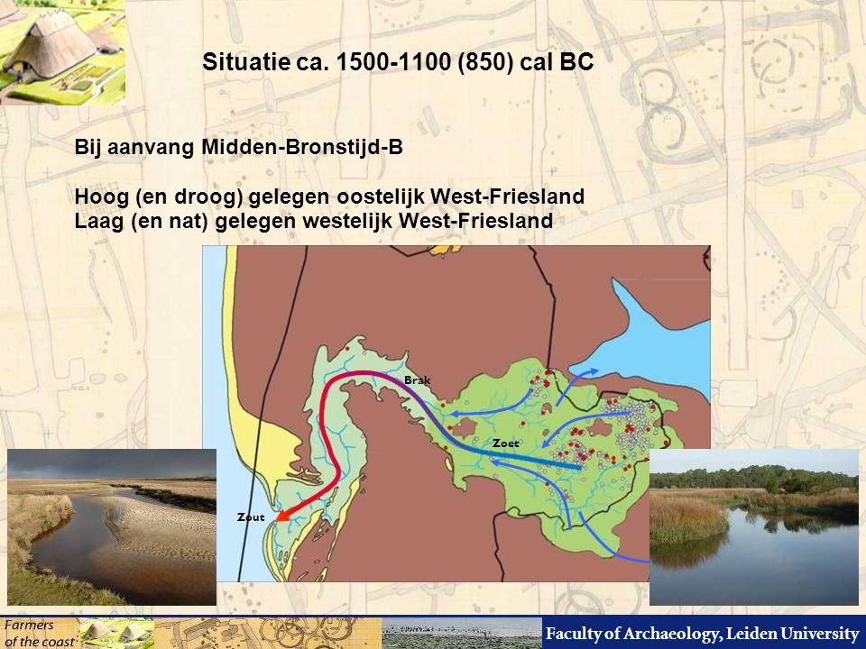Faculty of Archaeology, Leiden University Bij aanvang Midden-Bronstijd-B Hoog (en droog) gelegen oostelijk West-Friesland Laag (en nat) gelegen westelijk West-Friesland Situatie ca.