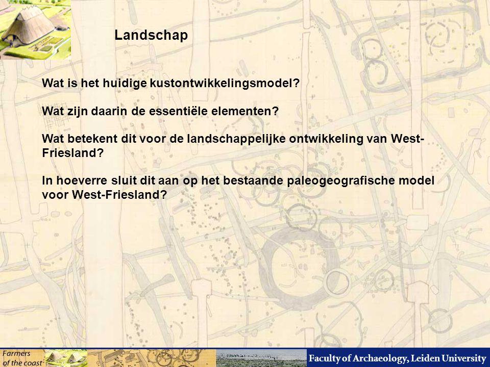 Faculty of Archaeology, Leiden University Methodiek reconstructie lokale paleogeografie Bronnen: HHN AHN Luchtfoto's Gearchiveerd booronderzoek Specialistisch onderzoek (14C, pollen, macro, micromorfologie, etc.) Luchtfoto's Survey's Opgravingen en -kjes Teeltrisicokaart voor de Bronstijd controle