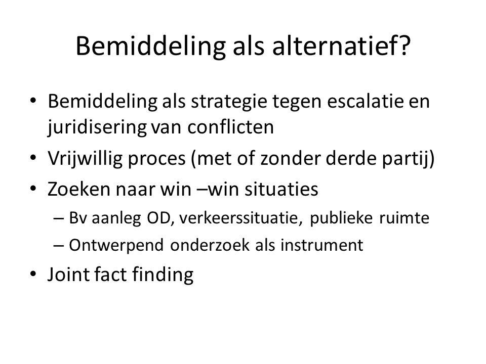 Bemiddeling als alternatief? Bemiddeling als strategie tegen escalatie en juridisering van conflicten Vrijwillig proces (met of zonder derde partij) Z