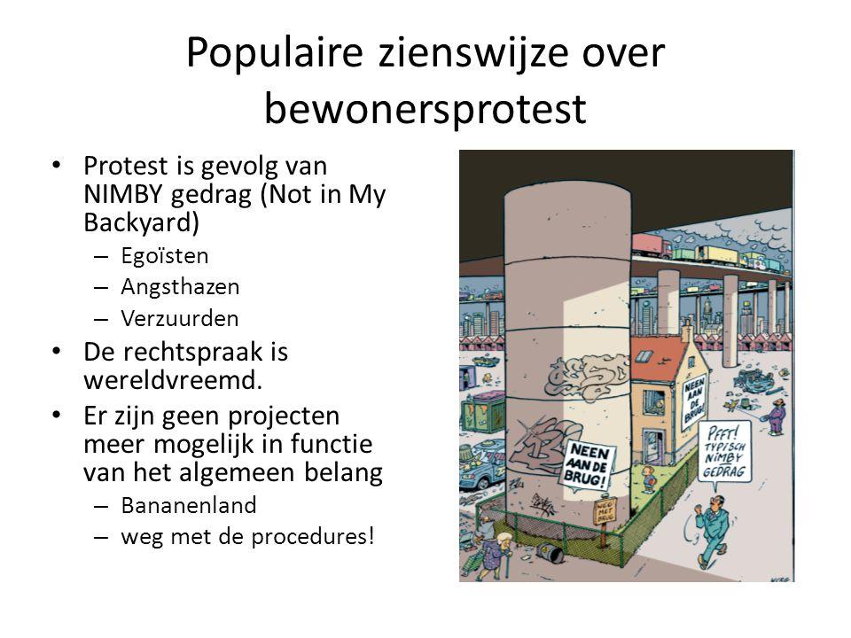 Populaire zienswijze over bewonersprotest Protest is gevolg van NIMBY gedrag (Not in My Backyard) – Egoïsten – Angsthazen – Verzuurden De rechtspraak