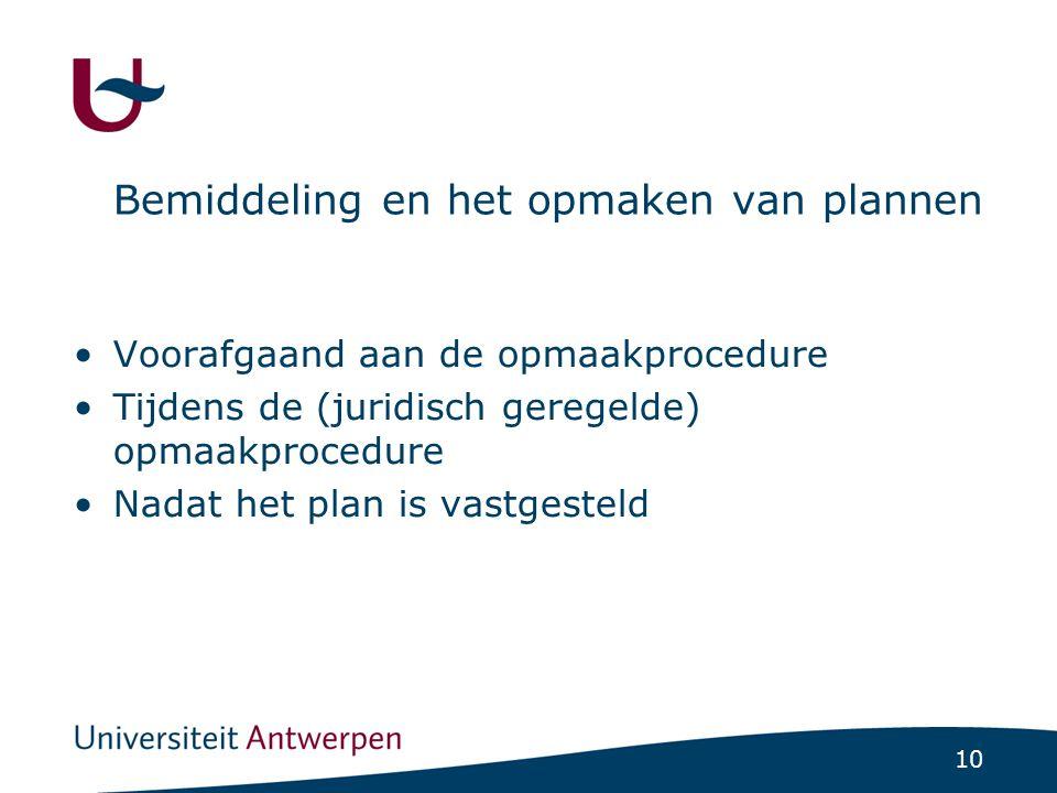10 Bemiddeling en het opmaken van plannen Voorafgaand aan de opmaakprocedure Tijdens de (juridisch geregelde) opmaakprocedure Nadat het plan is vastgesteld