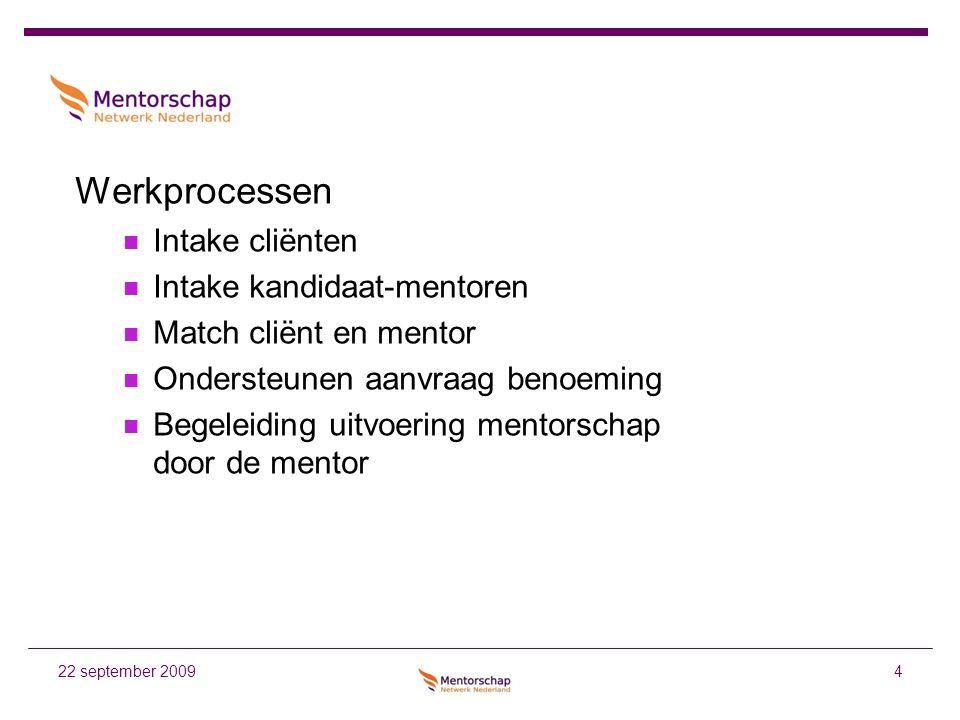 4 Werkprocessen Intake cliënten Intake kandidaat-mentoren Match cliënt en mentor Ondersteunen aanvraag benoeming Begeleiding uitvoering mentorschap do