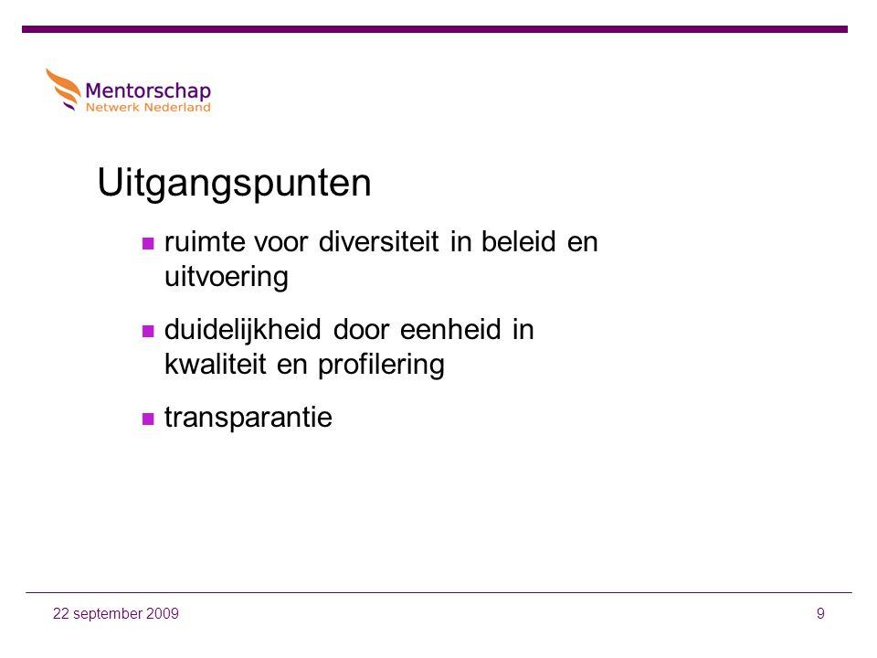 1022 september 2009 Uitwerking gezamenlijk formuleren aansluitings- voorwaarden  kwaliteit  registratie  communicatie gezamenlijk organiseren toetsing en handhaving