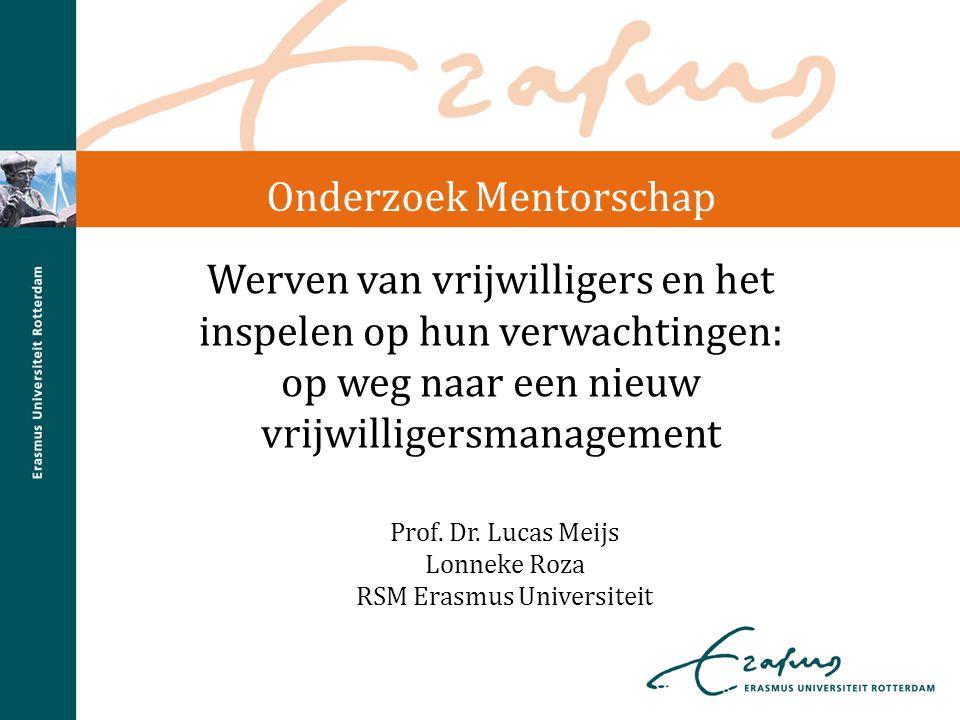 Werven van vrijwilligers en het inspelen op hun verwachtingen: op weg naar een nieuw vrijwilligersmanagement Prof. Dr. Lucas Meijs Lonneke Roza RSM Er