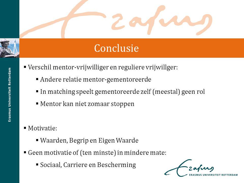 Conclusie  Verschil mentor-vrijwilliger en reguliere vrijwillger:  Andere relatie mentor-gementoreerde  In matching speelt gementoreerde zelf (mees