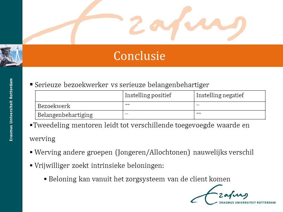 Conclusie  Serieuze bezoekwerker vs serieuze belangenbehartiger  Tweedeling mentoren leidt tot verschillende toegevoegde waarde en werving  Werving
