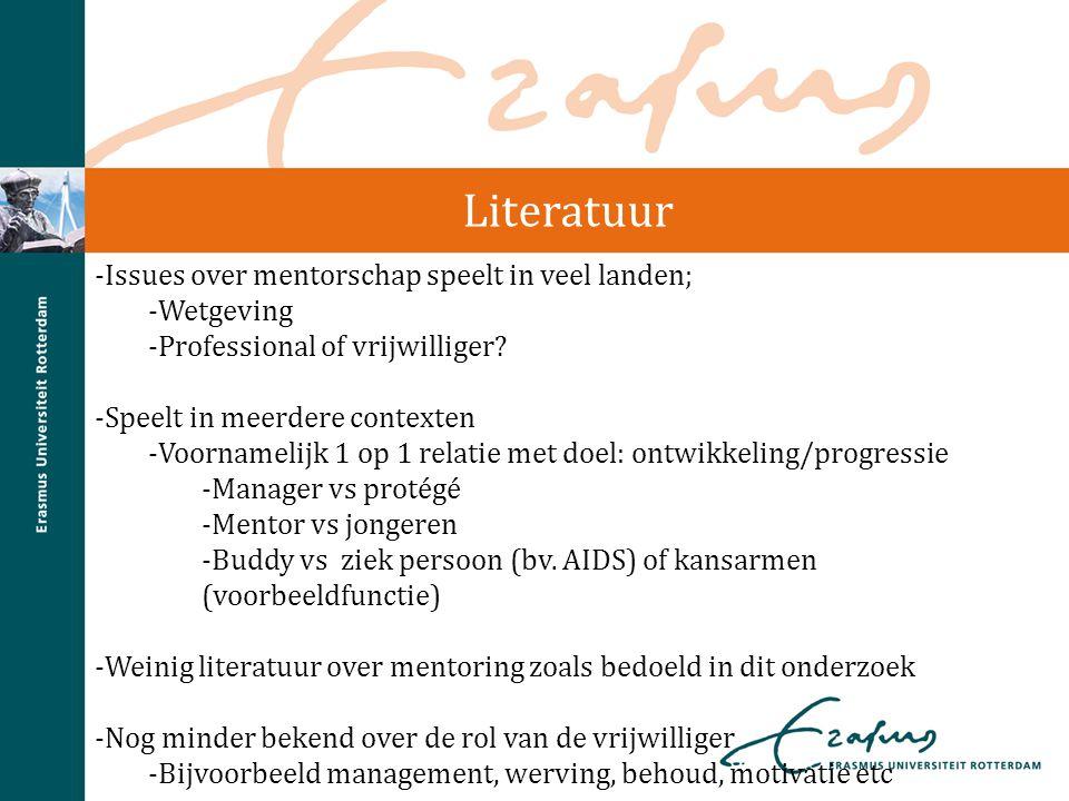 Literatuur -Issues over mentorschap speelt in veel landen; -Wetgeving -Professional of vrijwilliger? -Speelt in meerdere contexten -Voornamelijk 1 op