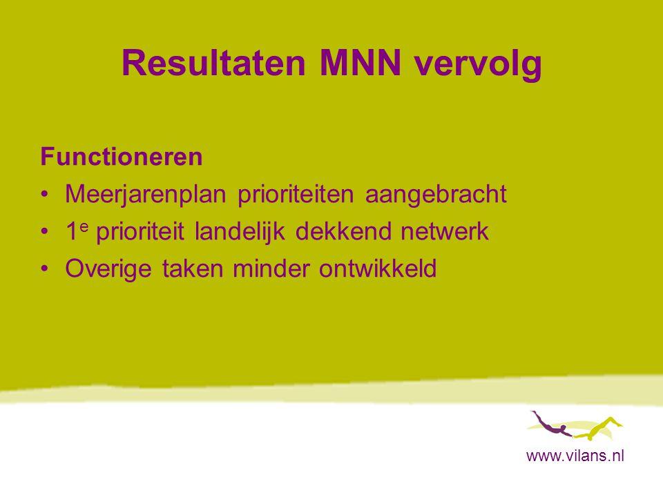 www.vilans.nl Resultaten MNN vervolg Functioneren Meerjarenplan prioriteiten aangebracht 1 e prioriteit landelijk dekkend netwerk Overige taken minder ontwikkeld