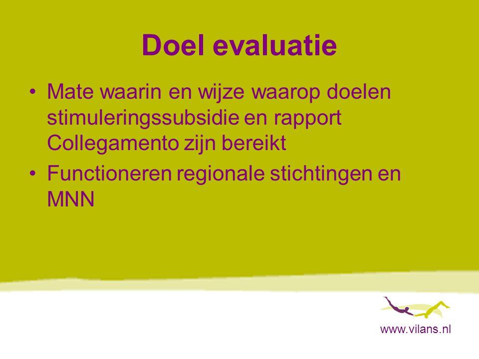 www.vilans.nl Doel evaluatie Mate waarin en wijze waarop doelen stimuleringssubsidie en rapport Collegamento zijn bereikt Functioneren regionale stichtingen en MNN