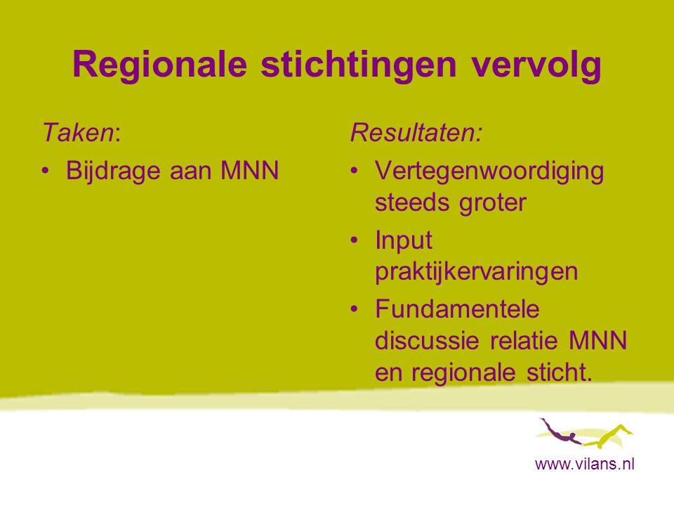 www.vilans.nl Regionale stichtingen vervolg Taken: Bijdrage aan MNN Resultaten: Vertegenwoordiging steeds groter Input praktijkervaringen Fundamentele discussie relatie MNN en regionale sticht.