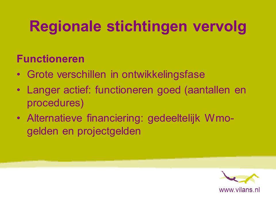 www.vilans.nl Regionale stichtingen vervolg Functioneren Grote verschillen in ontwikkelingsfase Langer actief: functioneren goed (aantallen en procedures) Alternatieve financiering: gedeeltelijk Wmo- gelden en projectgelden
