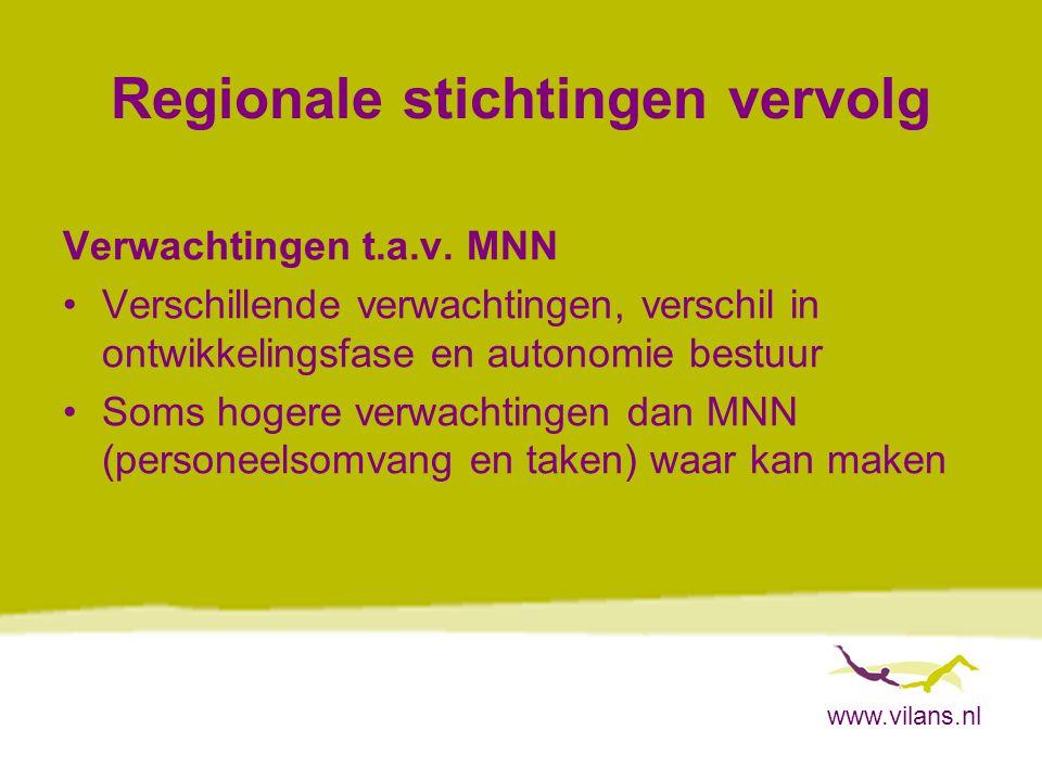 www.vilans.nl Regionale stichtingen vervolg Verwachtingen t.a.v.