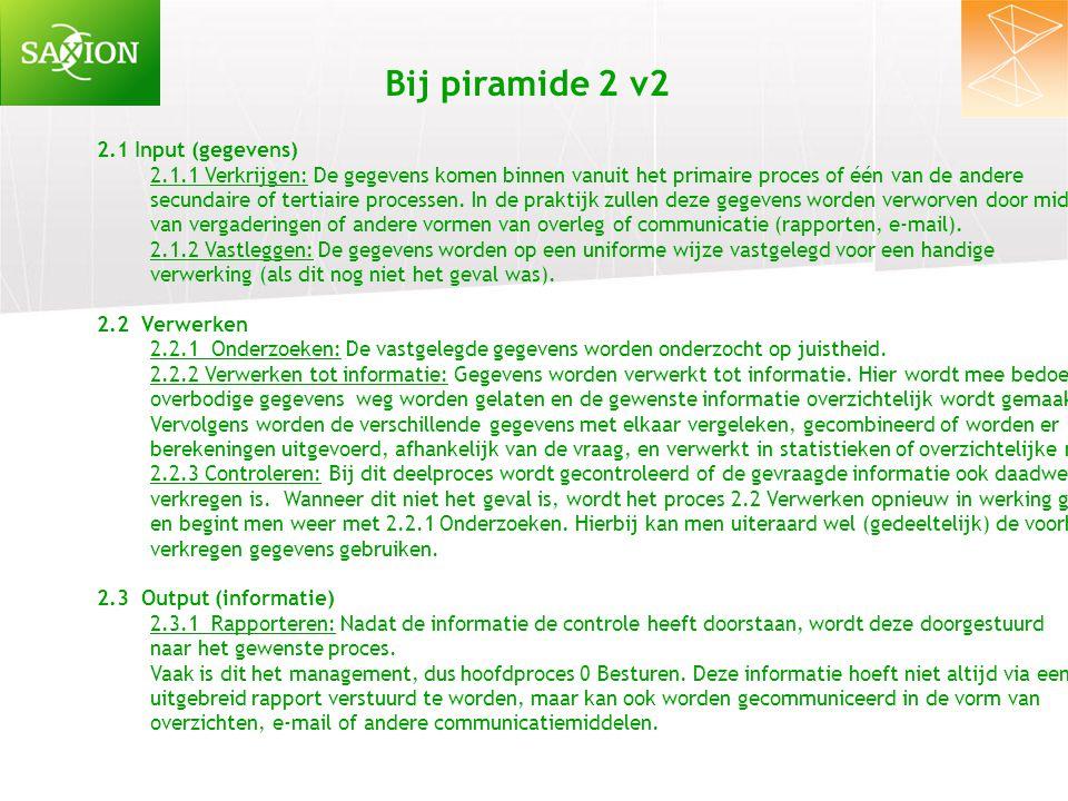 2.1 Input (gegevens) 2.1.1 Verkrijgen: De gegevens komen binnen vanuit het primaire proces of één van de andere secundaire of tertiaire processen. In