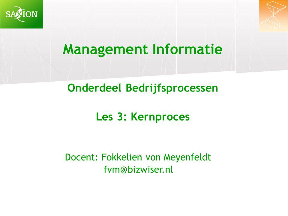 Management Informatie Onderdeel Bedrijfsprocessen Les 3: Kernproces Docent: Fokkelien von Meyenfeldt fvm@bizwiser.nl