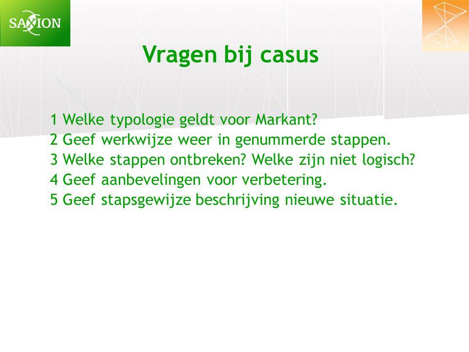 Vragen bij casus 1 Welke typologie geldt voor Markant? 2 Geef werkwijze weer in genummerde stappen. 3 Welke stappen ontbreken? Welke zijn niet logisch