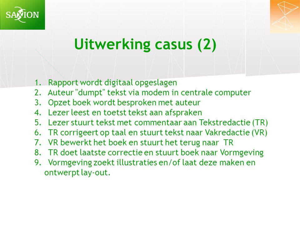 Uitwerking casus (2) 1. Rapport wordt digitaal opgeslagen 2. Auteur