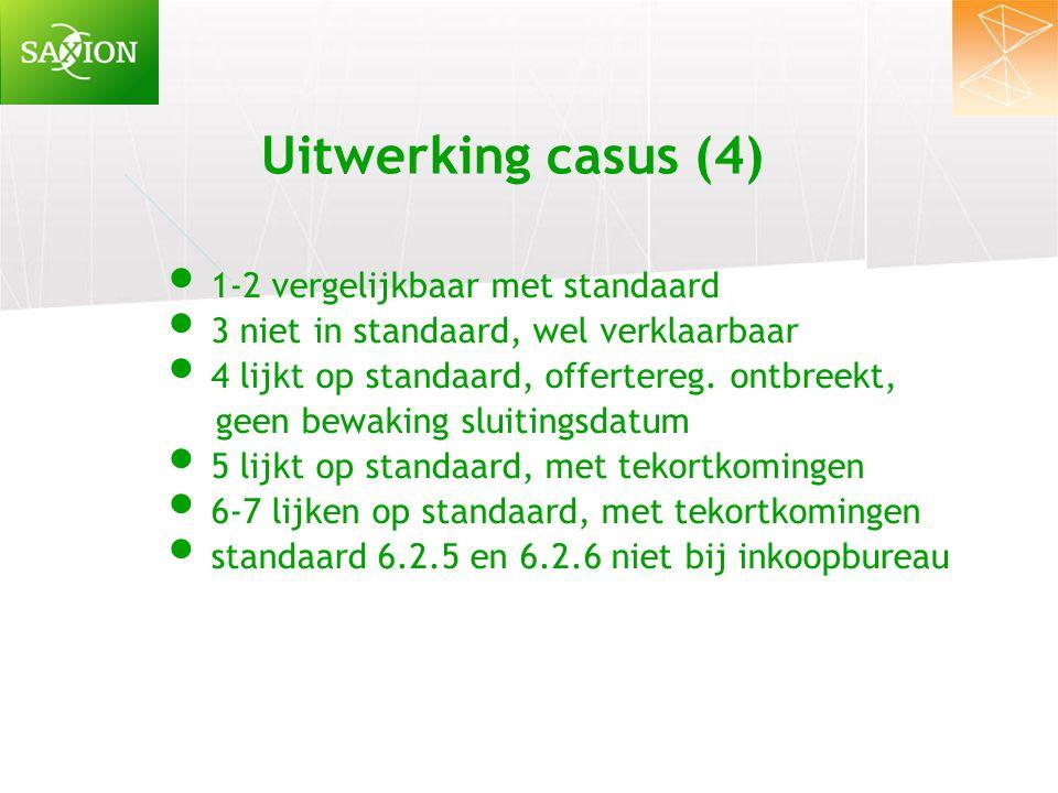 Uitwerking casus (4) 1-2 vergelijkbaar met standaard 3 niet in standaard, wel verklaarbaar 4 lijkt op standaard, offertereg. ontbreekt, geen bewaking
