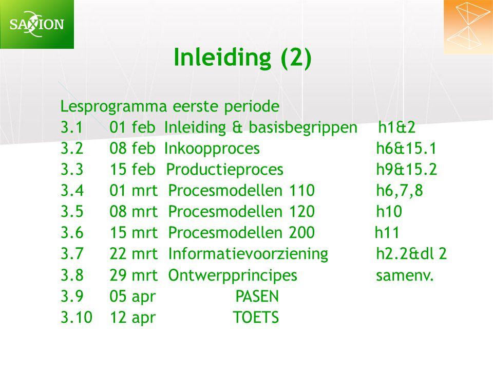 Inleiding (2) Lesprogramma eerste periode 3.101 feb Inleiding & basisbegrippen h1&2 3.208 feb Inkoopproces h6&15.1 3.315 feb Productieproces h9&15.2 3