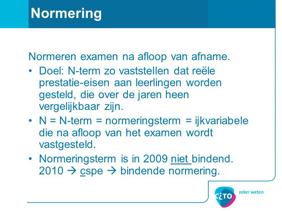 Normering Normeren examen na afloop van afname.